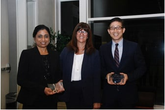 Third Place Team: Ruchika Verma from Perkins Coie LLP and Hyung Myung from Qualcomm, Inc. with The Honorable Judge Cathy Ann Bencivengo of the US District Court for the Southern District of California
